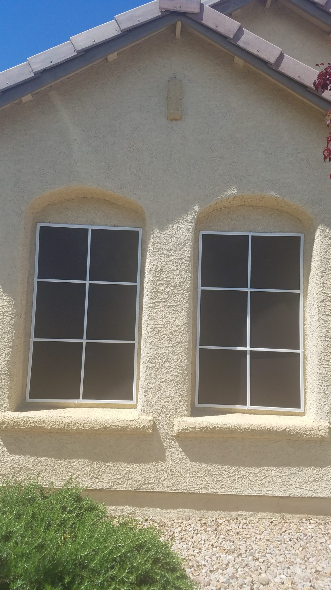 side by side casement with black solar screen