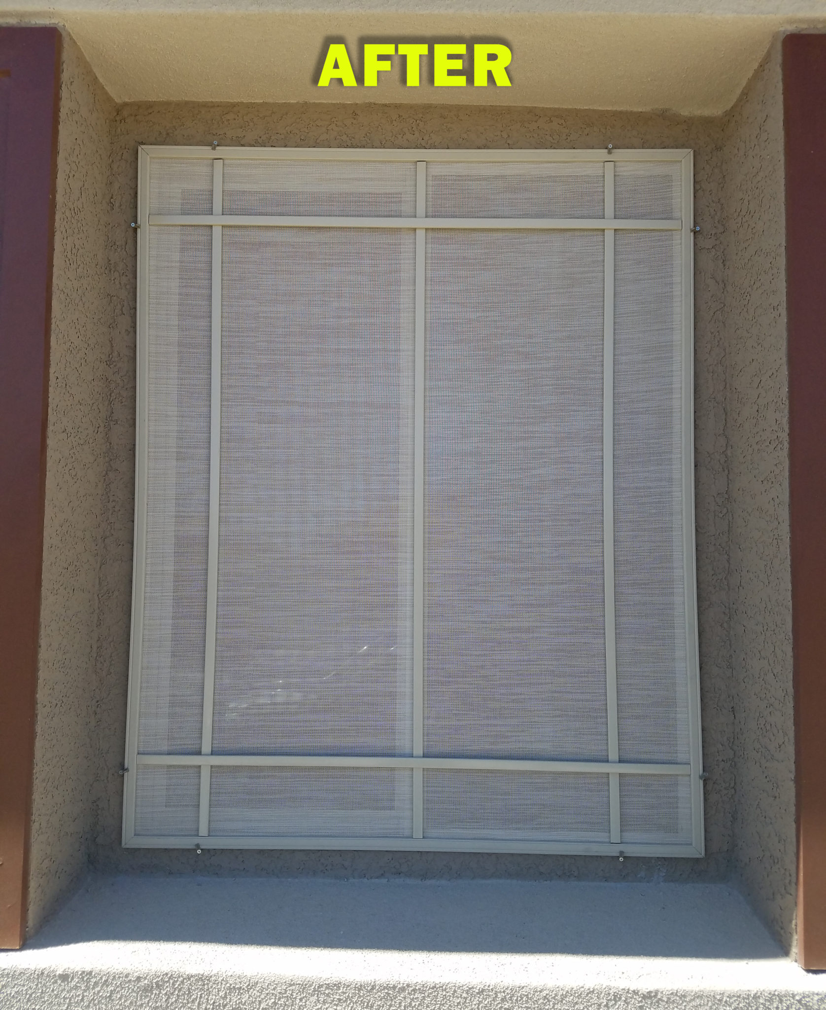 Tall casement window after with decorative trim