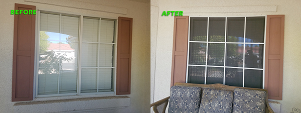 12-pane before and after black solar screens