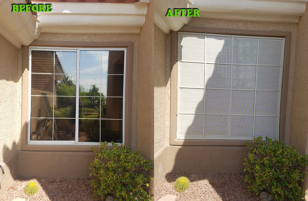 16 panel solar screen - square - beforeandafter