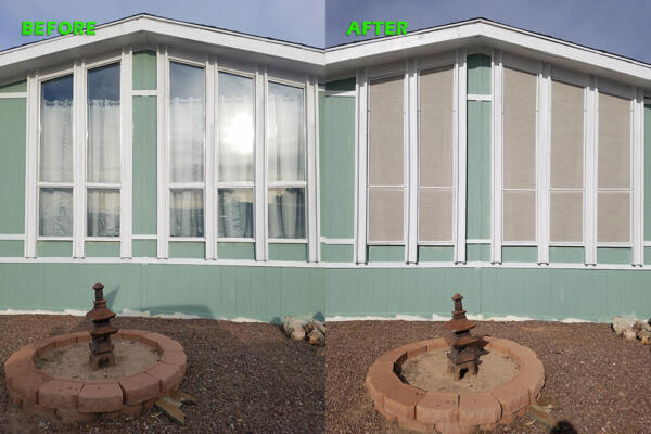 Before and After Sand Solar Screens on Steepled Windows