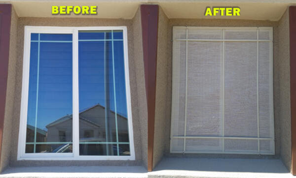Before and after solar screens - casement window