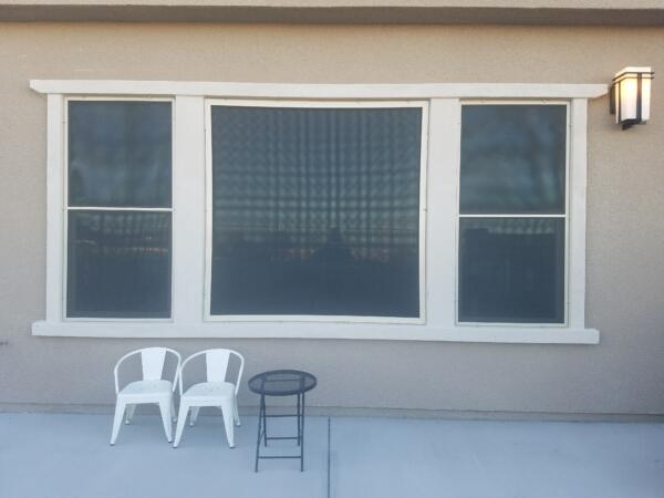 Black Solar Screen on patio