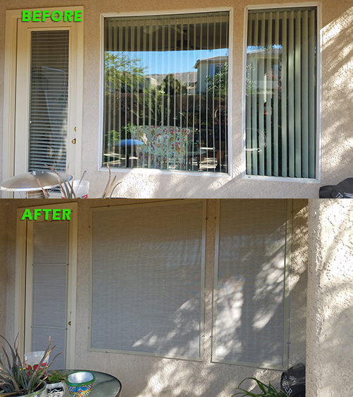 Picture window and door before and after solar screens