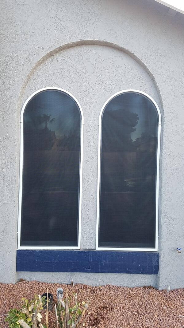 Single pane arched windows black solar screens
