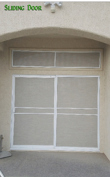Sliding door and transom windows