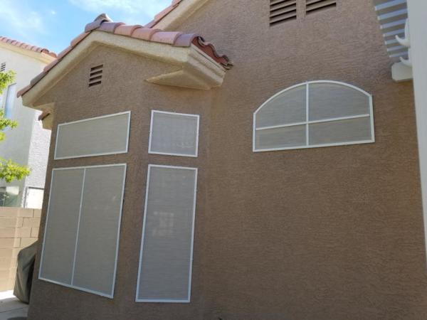 sand solar screens with white frames
